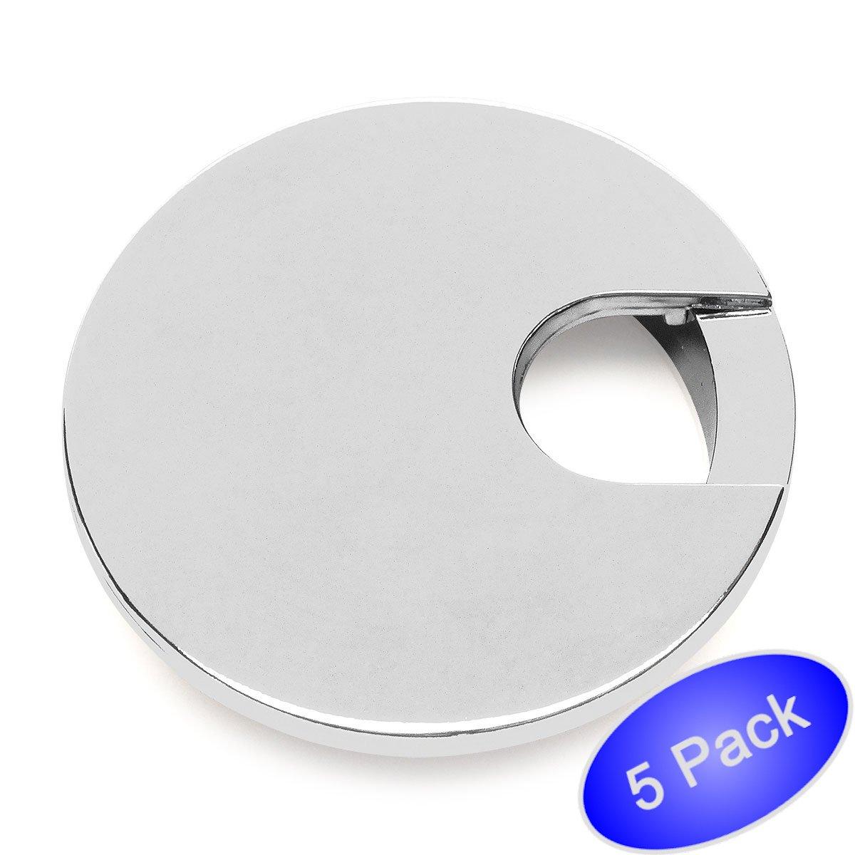 5 Pack - Cosmas 50203CH Polished Chrome 2-1/2'' Two Piece Zinc (Metal) Desk Grommet - 3'' Overall Diameter