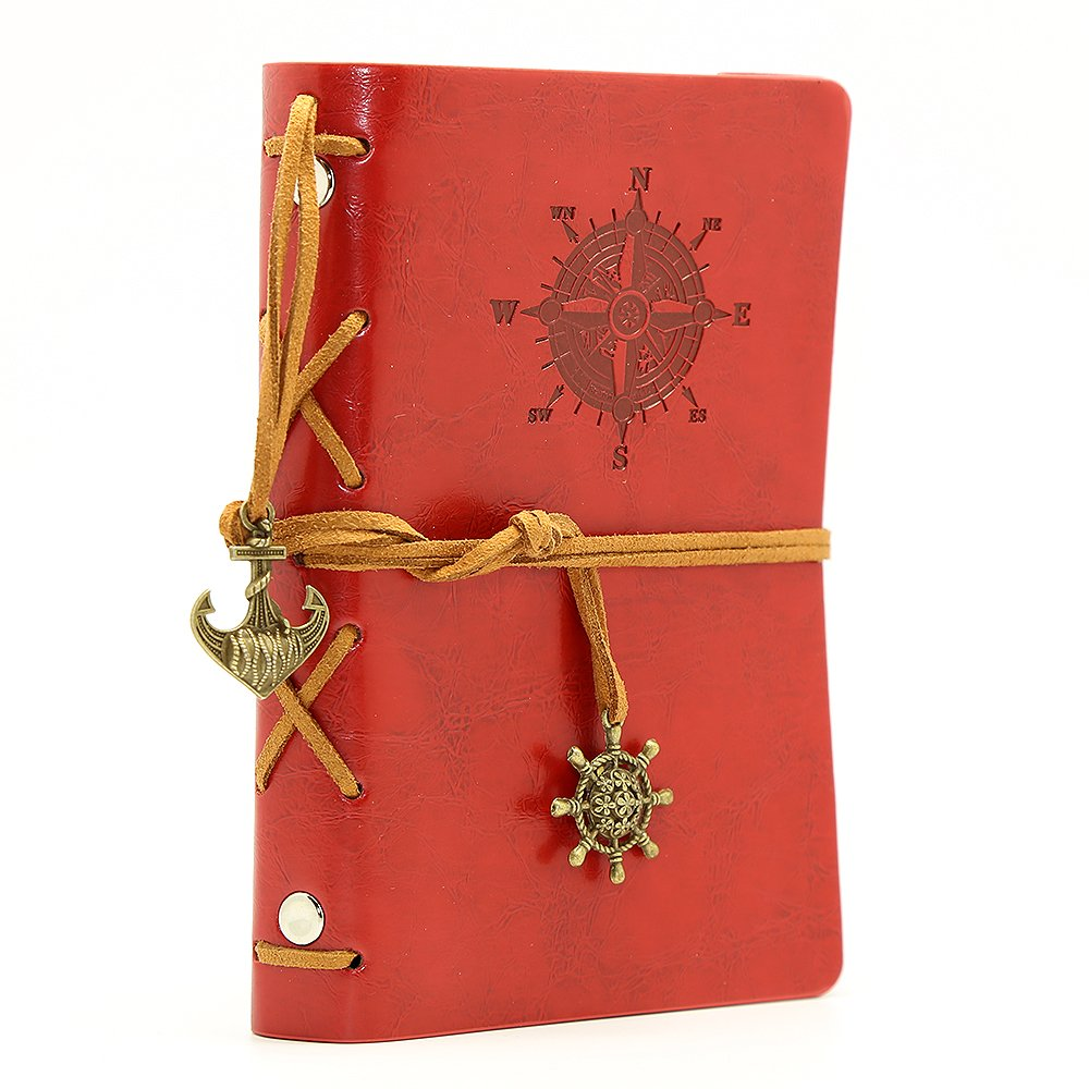 Diario con tapas de cuero estilo retro, Rojo (xmp)