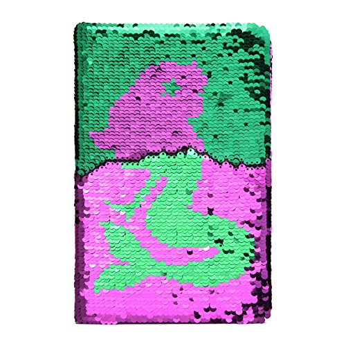 Sequin Notebook - PojoTech Mermaid Reversible Sequin Journal – Magic Travel Journal Notebook Gift for Adults and Kids (Mermaid)