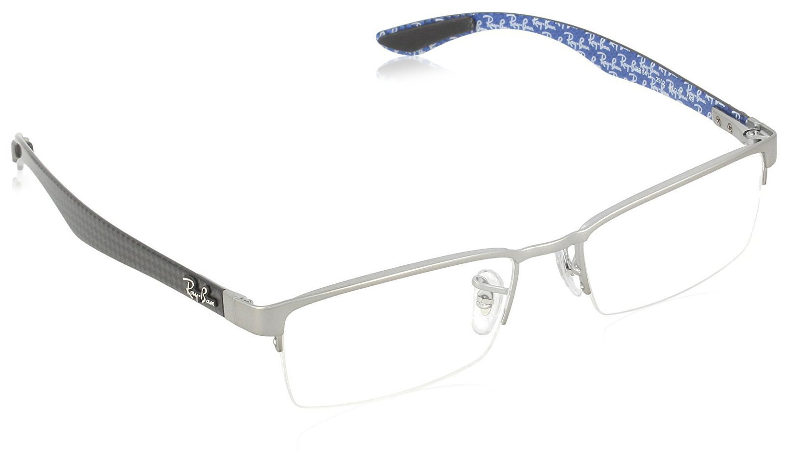 Ray-Ban Men's 0rx8412 No Polarization Rectangular Prescription Eyewear Frame Gunmetal 52 mm