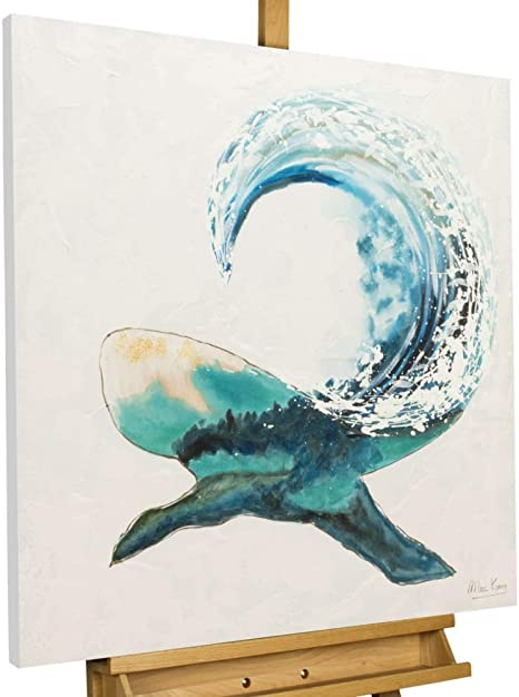Kunstloft Acrylic Painting Piece Of Mind 80 X 80 Cm Original Hand Painted Canvas Xxl Abstract Whale Blue White Wall Picture Acrylic Picture Modern Art One Piece With Frame Amazon De Küche Haushalt