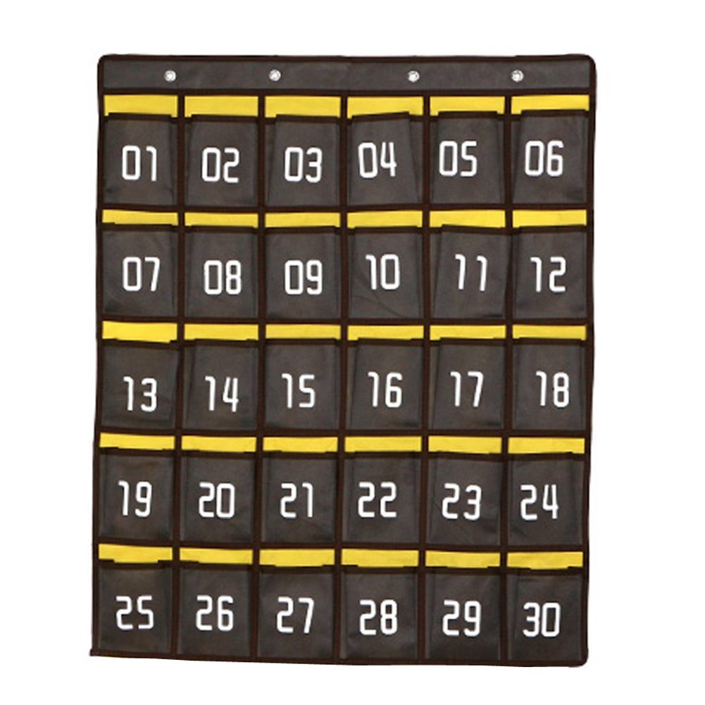 Loghot Numbered Classroom Sundries Closet Pocket Chart for Cell Phones Holder Wall Door Hanging Organizer Grey (30 Pockets with Digital)