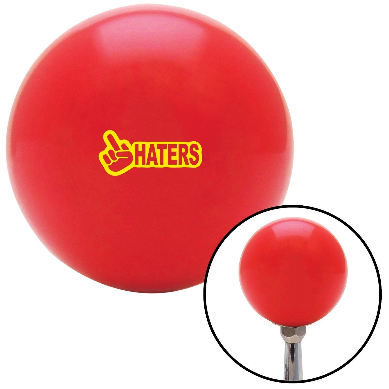 American Shifter 272126 Shift Knob ASCSNX1593158 Yellow Haters Red with M16 x 1.5 Insert