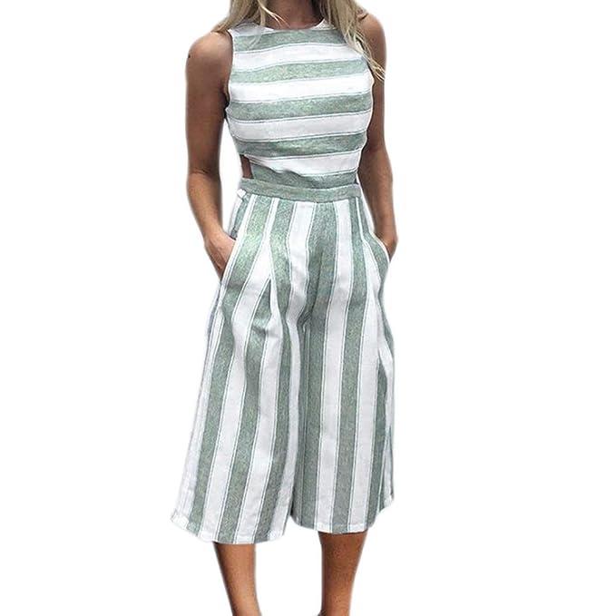 c55440b227186 Mono de Rayas sin Mangas para Mujer Casual Clubwear Pantalón de Pierna  Ancha Outfit