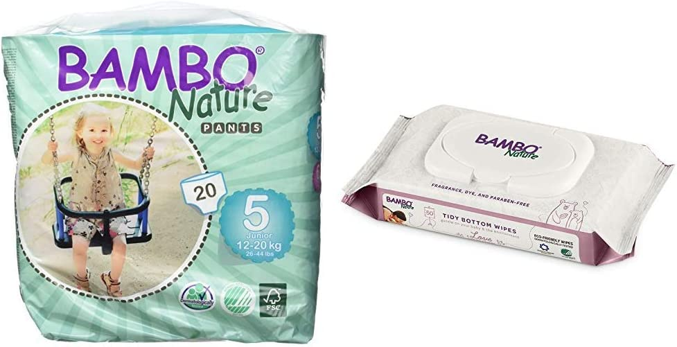 Bambo Nature Baby Training Pants Classic, Size 5 (26-44 lbs), 20 Count with Bambo Nature Tidy Bottoms Baby Wipes 50 Sheets