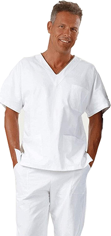 Divisa Completa da Lavoro Medico Infermiera Bianco Sanitario Estetista Unisex Cotone