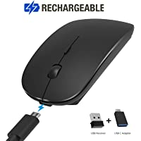 Wireless Mouse, Pasonomi Ultra Slim Mute Silent Click Noiseless Optical Mouse with USB Receiver and USB C Adapter for PC, Notebook, Laptop, Computer, MacBook