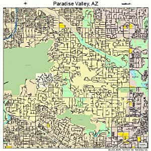 Amazon Com Large Street Amp Road Map Of Paradise Valley