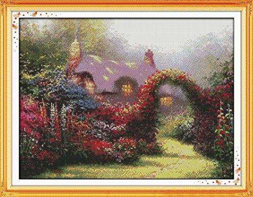 Joy Sunday Cross Stitch Kit 14CT Stamped Embroidery Kits Precise Printed Needlework - Garden cabin 52×41CM
