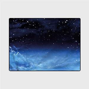 Living Room Carpet Night Sky,Ombre Colored Nebula Stair treads Carpet 3 x 5 Ft