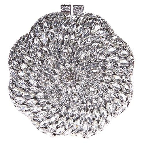 Crystal Fan Shape (Fawziya Fan Shape Crystal Rhinestone Purse Clutches And Evening Bags-Silver)