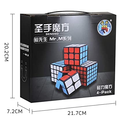 Alician 4Pcs Professional Smooth Magnetic Magic Cubes Game Toys Set