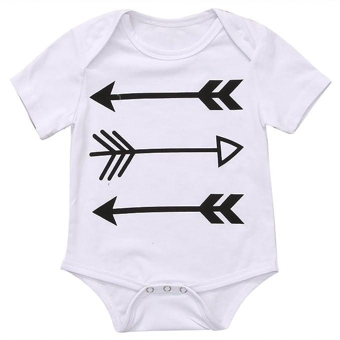 Magical Baby Bebé Niños Niñas Manga Corta Flechas Impresión Bodysuit - Pelele - Blanco -: Amazon.es: Ropa y accesorios