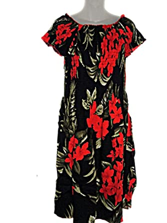 1ce54869004 Image Unavailable. Image not available for. Color  PLUS SIZE HAWAIIAN RED  FLOWERS FLORAL BLACK CAP SLEEVE SUN DRESS- ONE SIZE ( XL