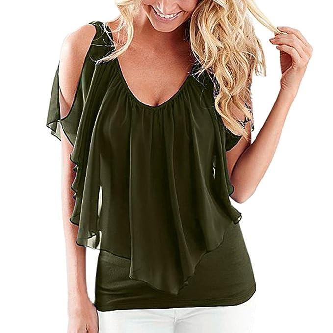c1199affe7 Familizo Summer Fashion Women s Casual Bare Shoulder Short Sleeve O-Neck  T-Shirt Cold