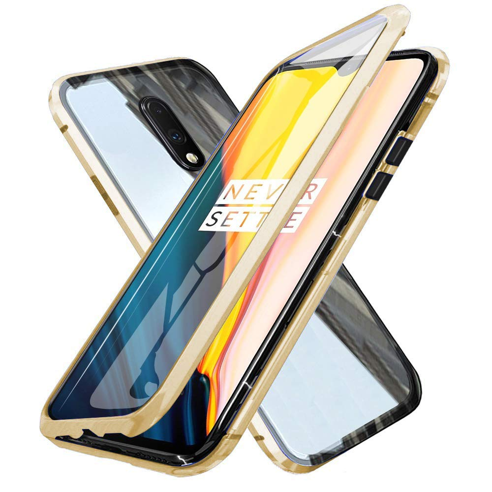 Oihxsetx Compatible for OnePlus 7 Magnetic Adsorption Double Side Tempered Glass Case,Ultra-Thin Magnetic Metal Frame Full Body Protection Cover Support Wireless Charging -Gold by Oihxsetx