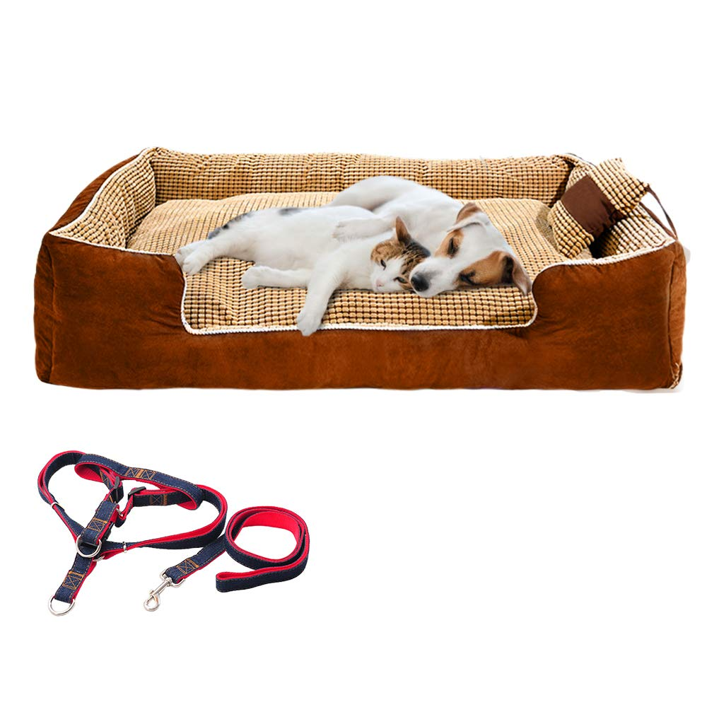 Large Dog Bed Rectangle Ultimate Dog Couch with Pillow,Dog Leash. Dog Lounge Sofa Bed for Large Dogs,Completely Removable Cover with Zipper,Machine Washable, Easy Clean, Durable
