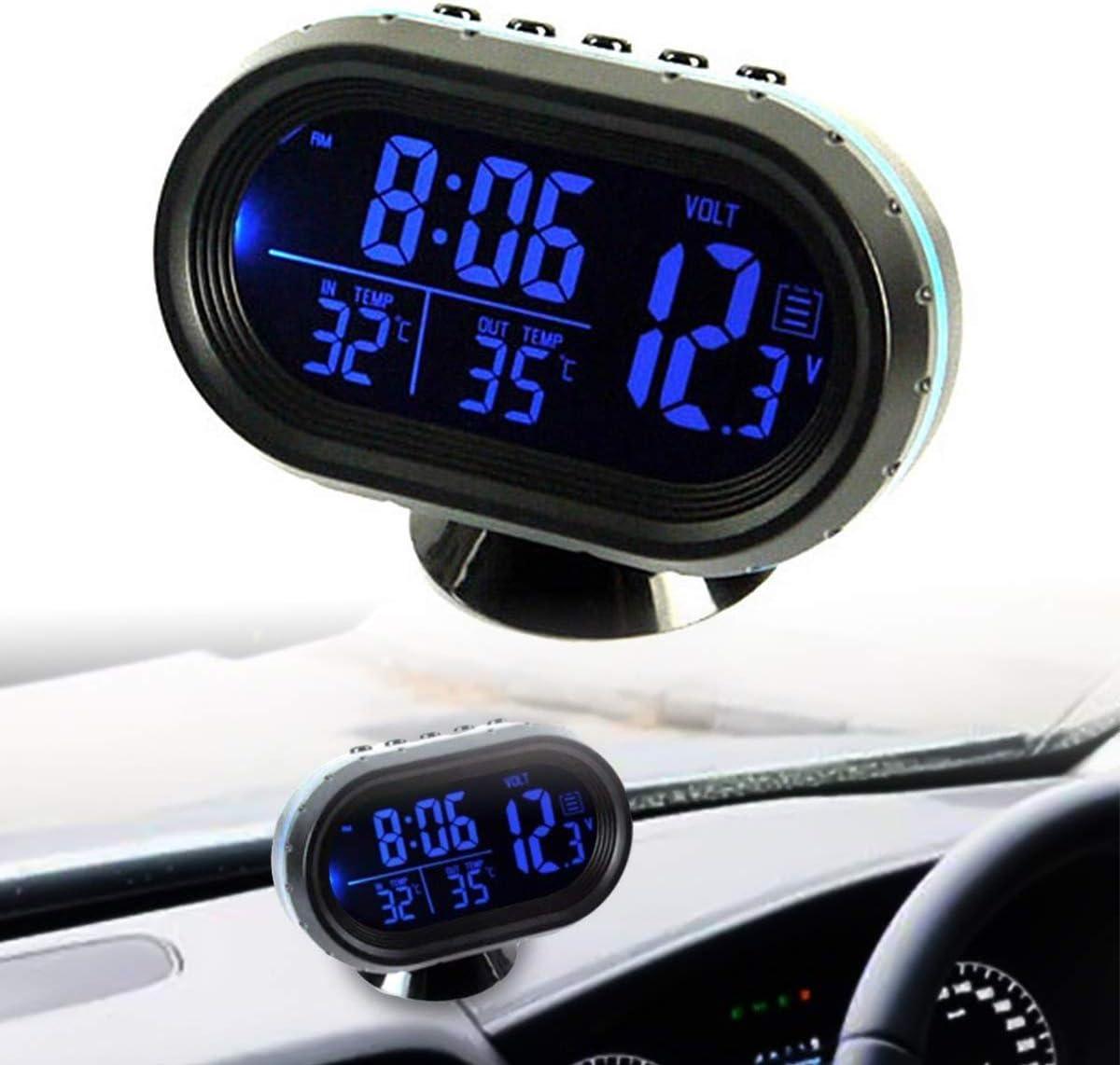 Riloer Termómetro para Coche Reloj Digital 12-24V Voltímetro Templado LCD Reloj Despertador con 2 Luces de Fondo (Azul/Rojo)
