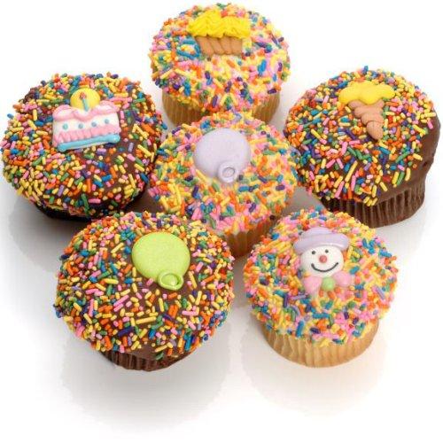 Birthday Belgian Chocolate Gourmet Cupcakes- 6 ()