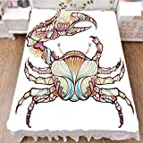 iPrint Bed Skirt Dust Ruffle Bed Wrap 3D Print,Lines Ocean Animal Cancer Illustration,Best Modern Style Bed Skirt for Men and Women by 90.5''x96.5''