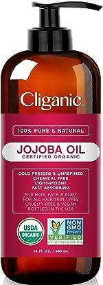 USDA Organic Jojoba Oil 16 oz with Pump, 100% Pure |