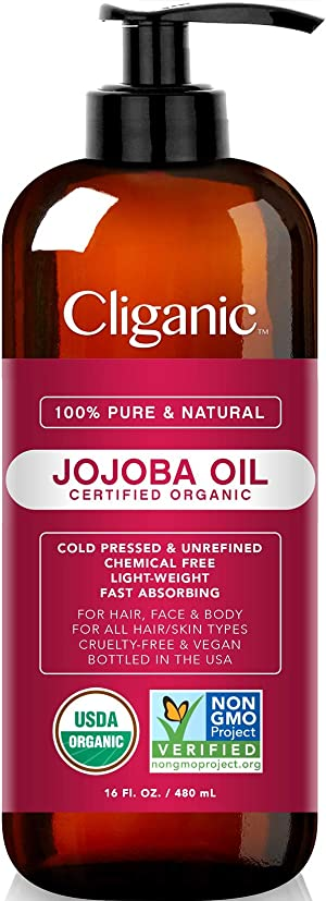 USDA Organic Jojoba Oil 16 oz with Pump, 100% Pure | Bulk, Natural Cold Pressed Unrefined Hexane Free Oil for Hair & Face | Base Carrier Oil - Certified Organic