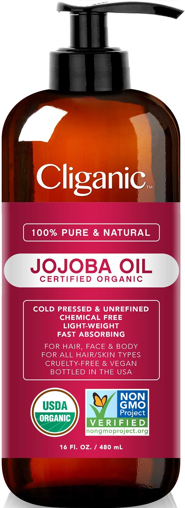 Certified Organic Jojoba Oil 473ml with Pump | 100% Pure Natural Cold Pressed Unrefined, Hexane Free Carrier Oil | for Hair Face & Nails | Cliganic 90 Days Warranty