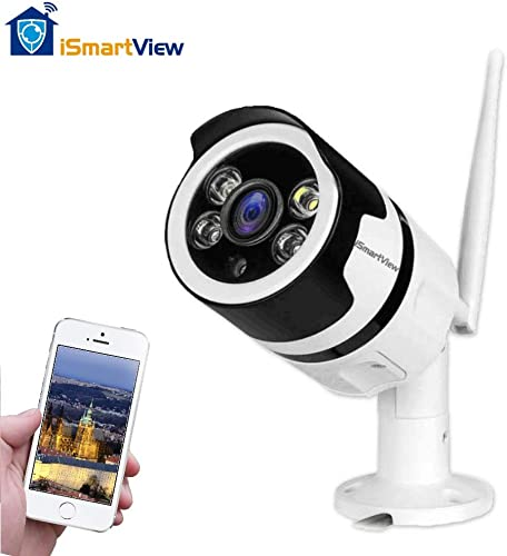 iSmartView Full HD 1080P 2.0MP WiFi Security Camera, Clarity Colored Night Vision, with Motion Detection, IP66 Weatherproof for Indoor or Outdoor, Support 128GB SD Card