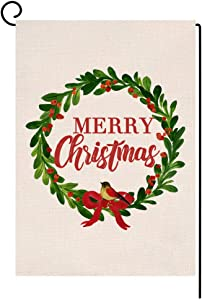 BLKWHT Merry Christmas Wreath Garden Flag Vertical Double Sided Winter Green Red Burlap Yard Outdoor Decor 12.5 x 18 Inches (118053)