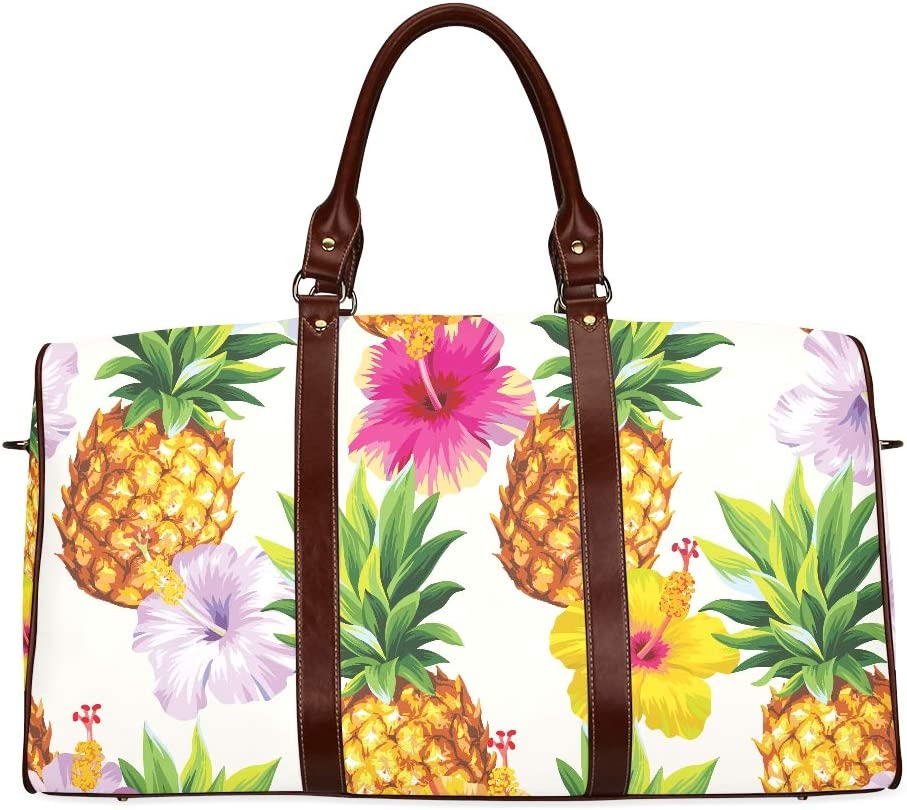 Pineapple Seamless Pattern Sports Gym Bag with Shoes Compartment Travel Duffel Bag for Men and Women