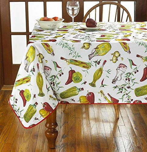 (Violet Linen Classic Euro Temptations Large Vegetables Design Tablecloth, 52