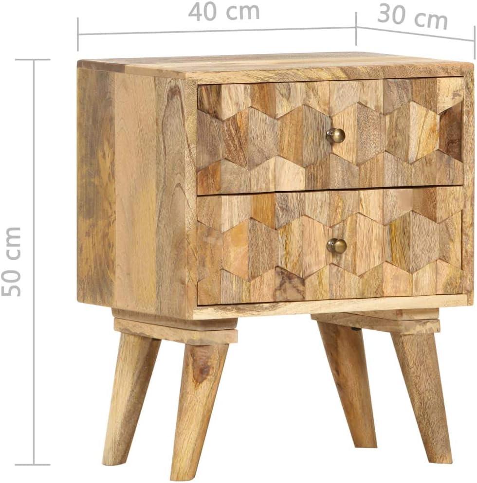 vidaXL Bois de Manguier Massif Table de Chevet Table de Nuit avec 2 Tiroir Armoire de Chevet Table de Canap/é Salon Chambre /à Coucher Maison 40X30X50 cm