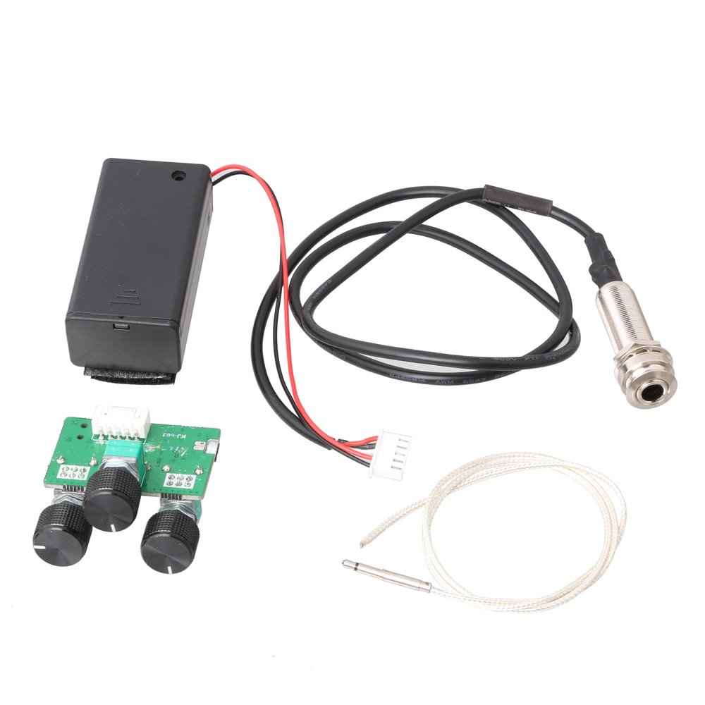 LYWS 1v1t1m Volume Tone Microphone Active EQ Preamp Piezo Pickup For Acoustic Guitar Ukulele