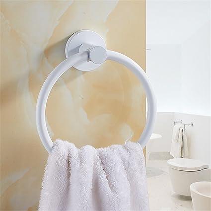 Hlluya Toallero El Remiendo Blanco Gratuito de Toallas de baño de Anillo de Acero Inoxidable higiénico