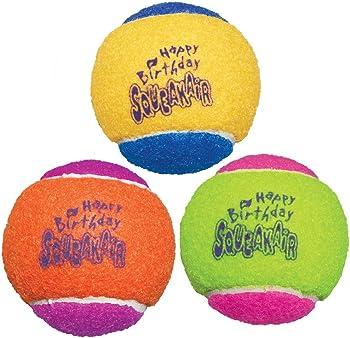 3-Pack KONG Air Dog Squeakair Birthday Balls Dog Toy