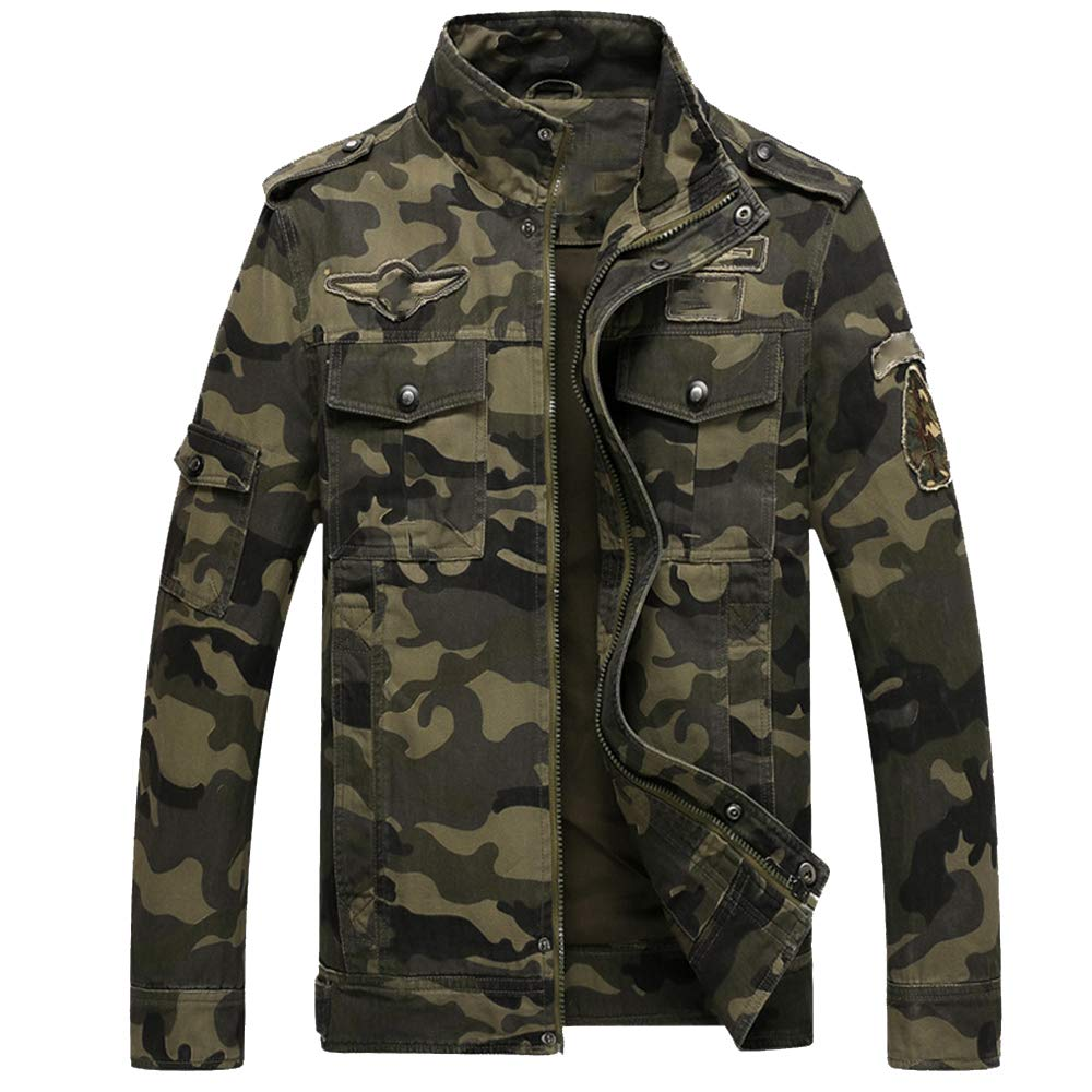 ZFADDS Army Military Jacket Men Camouflage Tactical Camouflage Casual Bomber Jackets