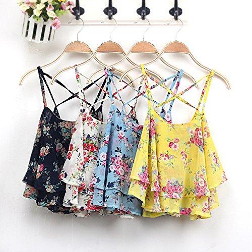 COMVIP - Camiseta sin mangas - Floral - Sin mangas - para mujer negro