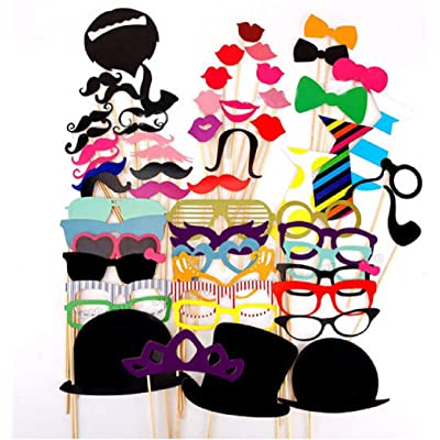 58PCS Wedding Funny Photo Booth Props Pose Sign Kit,Bachelorette Christmas Holiday Wedding Birthday Paper Mustache Party Graduation Decor Supplies (58 PCS): Home Improvement