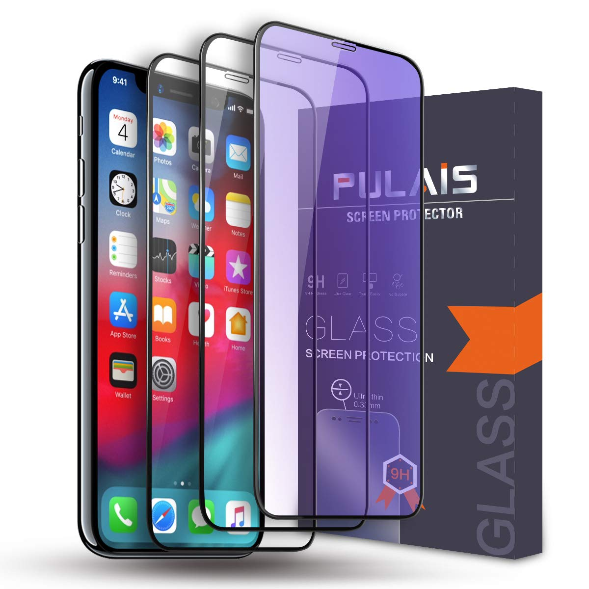 d531e52032cf Amazon.com: Screen Protector for iPhone Xs Max,Pulais iPhone Xs max Tempered  Glass Screen Protector (6.5'' 2018) [3 Pack]: Cell Phones & Accessories