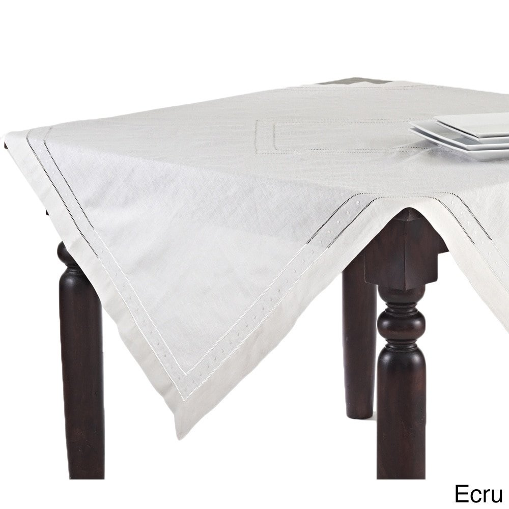 Hand Hemstitched and Embroidered Swiss Dot Tablecloth (65''x140'' Rectangular, Beige)
