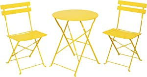 Patio Bistro Set, Outdoor Patio Furniture Sets,3 Piece Patio Set of Foldable Bistro Chairs and Table,Yellow