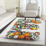 Letter E Area Silky Smooth Rugs ABC of Sports Concept Different Gaming Balls First Name Initial Monogram Design Floor Mat Pattern 4'x6' Multicolor