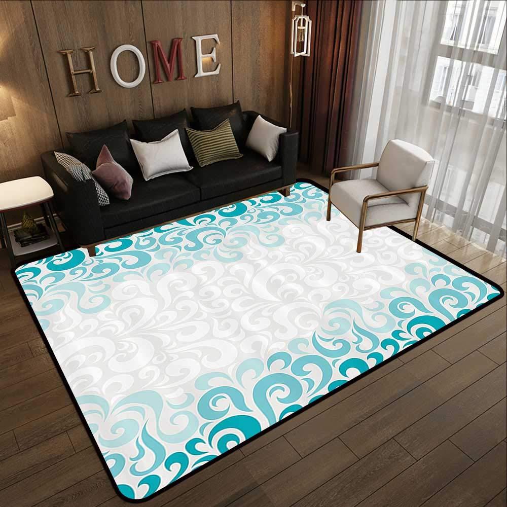 Pattern07 55 x 63 (W140cm x L160cm) Carpet mat,Turquoise Decor Collection,Round Ethnic Pattern with Emerald Mandala Elements Eastern Oriental Artful Design,Teal White 63 x 94  Floor Mat Entrance Doormat