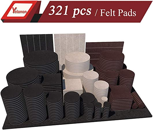 Yelanon Furniture Pads 321 Pieces Self Adhesive Felt Pad Brown