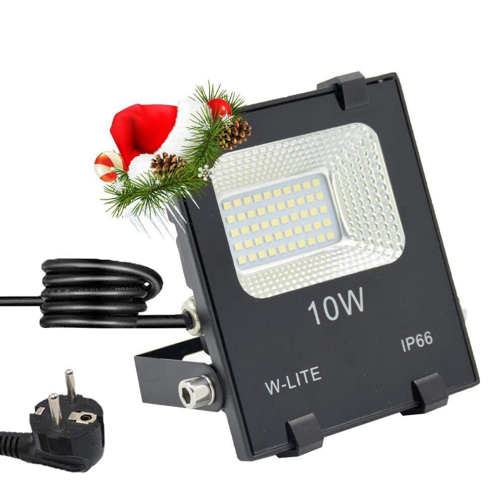 LED Strahler Außen, Fluter 10W mit Zuleitung, Aussenleuchte Wand mit EU-Stecker, IP66 Wasserdicht, Kaltweiß Superhell, Wandstrahler Gartenlampe w-lite