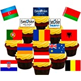 Made4You Eurovision Party! Edible Cupcake/Fairy Cake Toppers - Stand-up Wafer Cake Decorations - Includes all countries! (Pack of 48)
