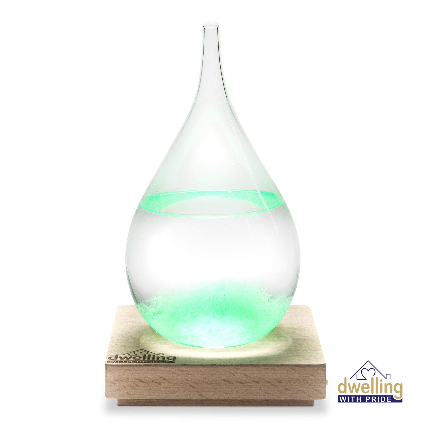 Large Storm Glass Mini Weather Station with Light Up LED Base | Lighted Home Decor in Shape of Water Drop for Desktop, Desks, Shelf and Tables | Creative Temperature Gauge Gifts | Multi-Color Options