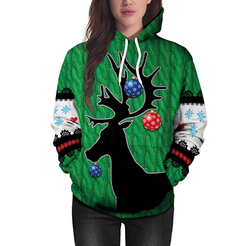 IEason Women top Women Christmas Deer 3D Printing Long Sleeve Hoodie Sweatshirt Pullover Top by IEason Women top