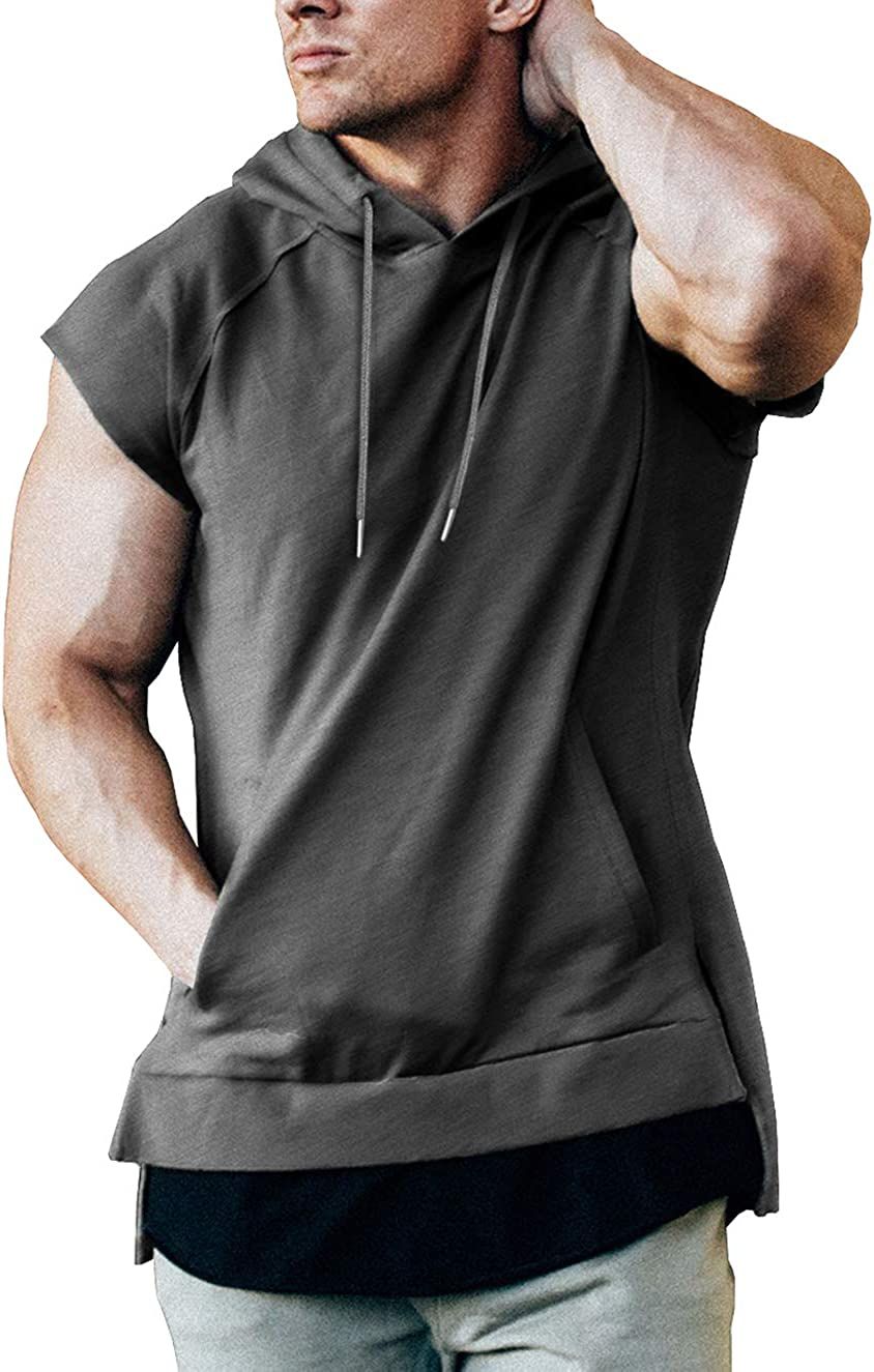 iWoo Mens Muscle T Shirts Hooded Workout Short Sleeve Shirts
