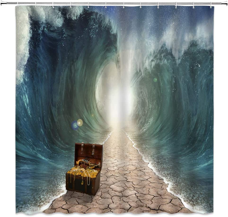 Jingjiji Wave Shower Curtain Ocean Separate Water Path Huge Waterfall with Treasure Chest Bathroom Decor Curtains Polyester Fabric Waterproof with Hook 70 x 70 Inch Blue Brown